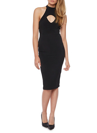 Sleeveless Midi Dress with Cutout,BLACK,large