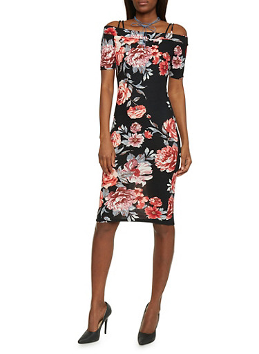 Floral Cold Shoulder Mid Length Bodycon Dress,BLACK/RED,large