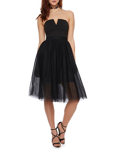Strapless Fit and Flare Dress with Tulle Skirt,BLACK,large