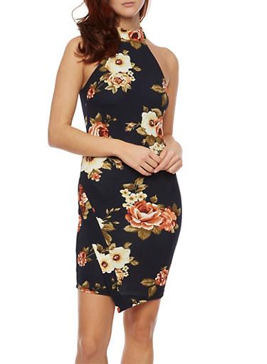 Halter Dress in Floral Print,NAVY,large