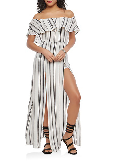 Off the Shoulder Stripe Romper Dress,WHITE CHAMBRAY,large