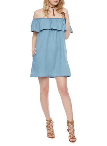 Off the Shoulder Denim Dress with Ruffle Neckline,BLUE MED,large