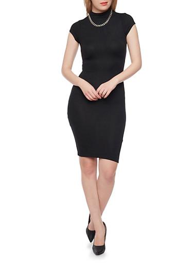 Mid Length Mockneck T Shirt Dress with Back Keyhole,BLACK,large