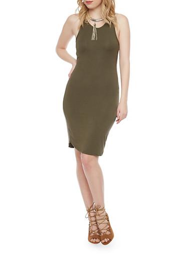 Open Back Sleeveless Tank Dress,OLIVE,large