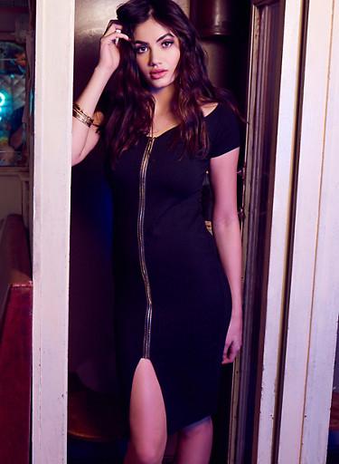 Off the Shoulder Zip Front Dress,BLACK,large