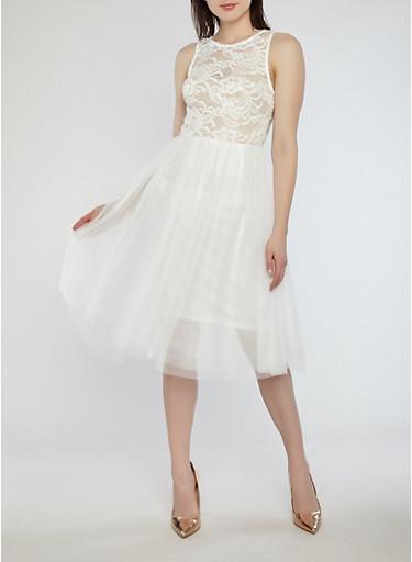 Mesh Lace Skater Dress,WHITE,large