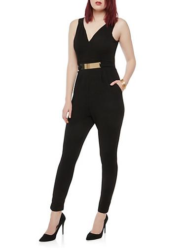 Metallic Bar Accent Jumpsuit,BLACK,large