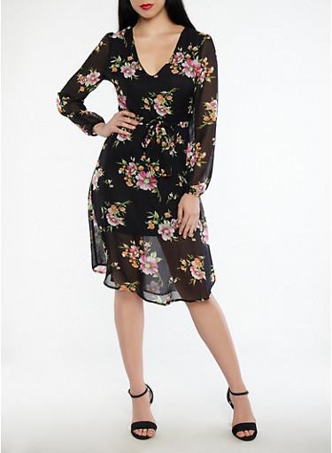 Floral Tie Waist Midi Dress,BLACK,large