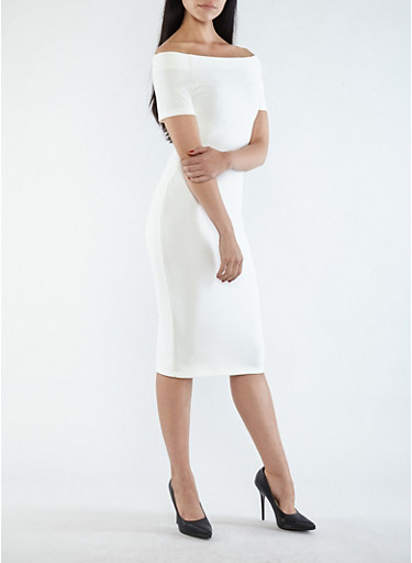 Off the Shoulder Bandage Dress,IVORY,large