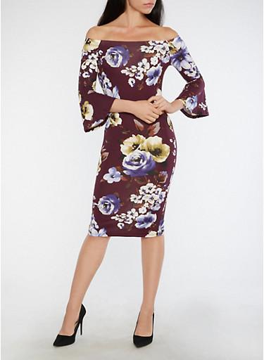 Floral Bell Sleeve Off the Shoulder Dress,PLUM,large