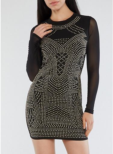 Studded Mesh Sleeve Dress,BLACK,large