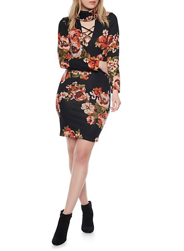 Lace Up Midi Dress with Mock Neck and Floral Print,BLACK,large