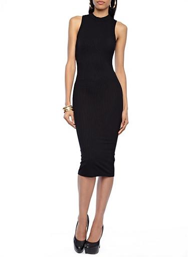 Sleeveless Mock Neck Ribbed Midi Dress,BLACK,large