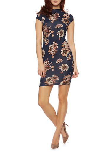 Knit Bodycon Dress with Floral Print,NAVY,large