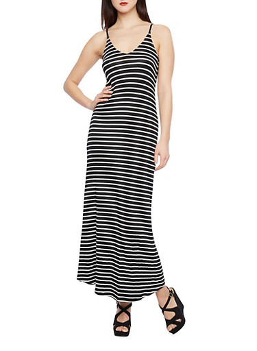 Striped Maxi Dress with Plunging Neckline,BLACK/WHITE,large