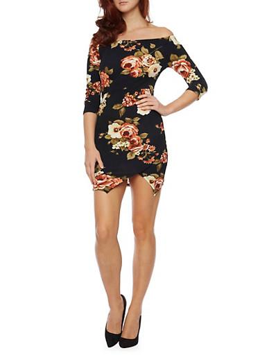 Off The Shoulder Dress in Floral Print,BLACK,large