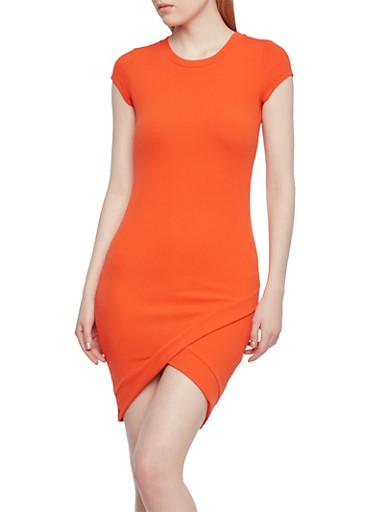 Surplice Hem Midi Dress with Cap Sleeves,TOMATO RED,large