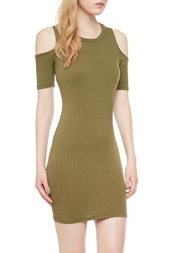 Cold Shoulder Ribbed Dress,OLIVE,large