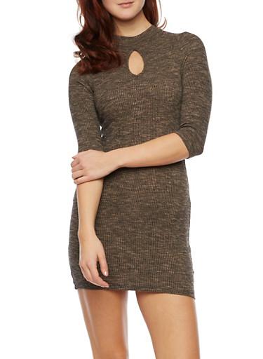 Ribbed Mockneck midi Dress With Keyhole Cutout,KHAKI,large