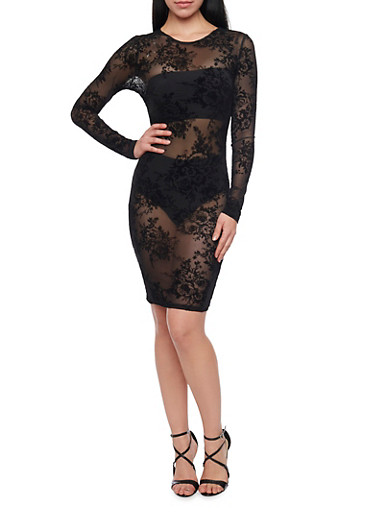 Sheer Floral Mesh Long Sleeve Midi Dress,BLACK,large