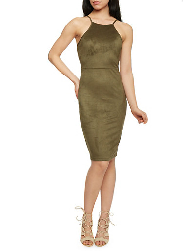 Faux Suede Midi Dress,OLIVE,large