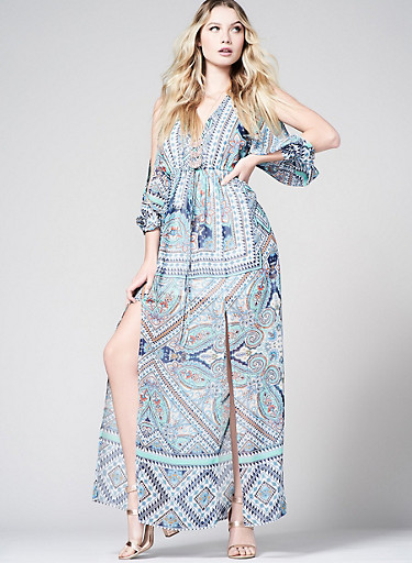 Printed Slit Sleeve Maxi Dress,TEAL,large