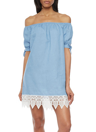 Off Shoulder Chambray Shift Dress with Crochet Hem,BLUE,large