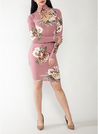 Soft Knit Floral Choker Neck Dress,DARK MAUVE,large
