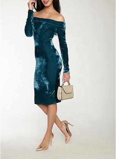 Velvet Off the Shoulder Dress,GREEN,large