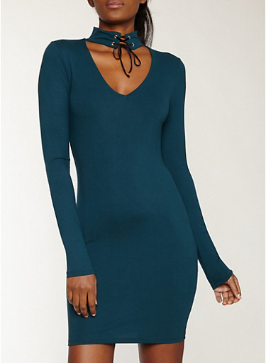 Lace Up Choker Neck Soft Knit Dress,HUNTER,large