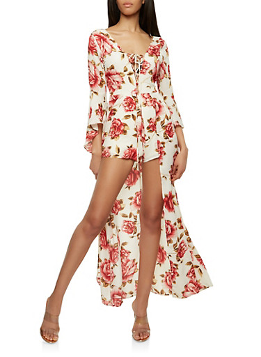 Floral Lace Up Romper with Maxi Skirt Overlay,IVORY,large