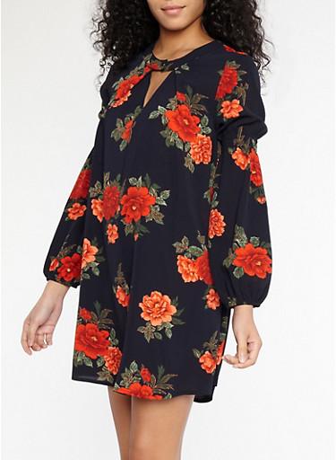 Floral Crepe Knit Bell Sleeve Dress,NAVY,large