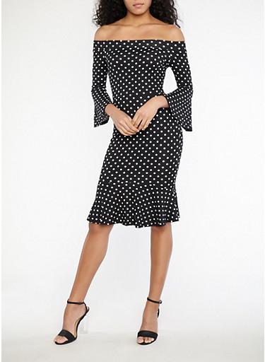 Off the Shoulder Polka Dot Ruffle Hem Dress,BLACK/WHITE,large