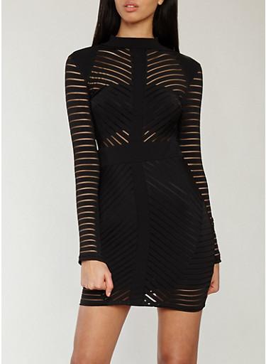 Shadow Stripe Bodycon Dress,BLACK,large