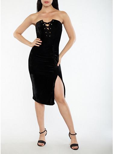 Velvet Lace Up Ruched Tube Dress,BLACK,large