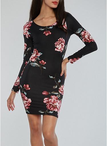 Floral Open Back Lace Up Dress,BLACK,large