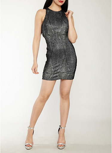 Sleeveless Glitter Bodycon Dress,SILVER,large