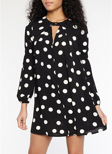 Polka Dot Crepe Knit Dress,BLACK/WHITE,large