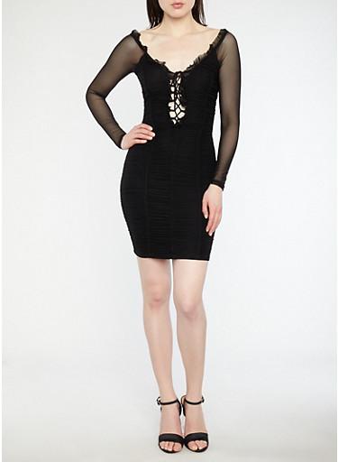Ruched Mesh Off the Shoulder Dress,BLACK BLACK,large
