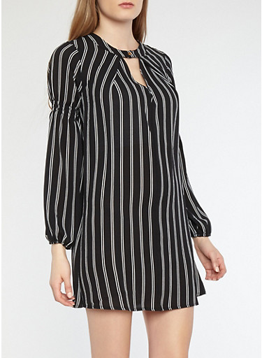 Striped Cinched Bubble Sleeve Shift Dress,BLACK/WHITE,large