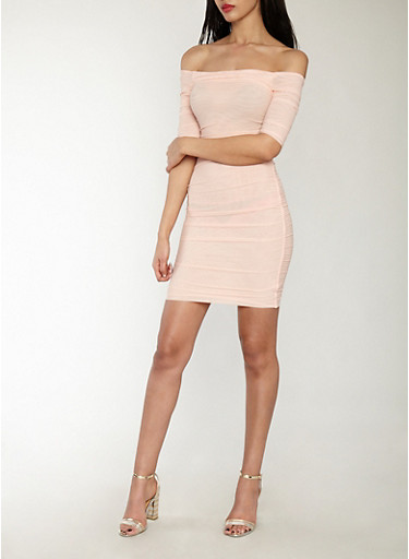 Ruched Mesh Off the Shoulder Bodycon Dress,BLUSH,large