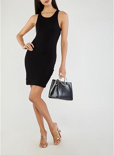 Basic Rib Knit Bodycon Dress,BLACK,large