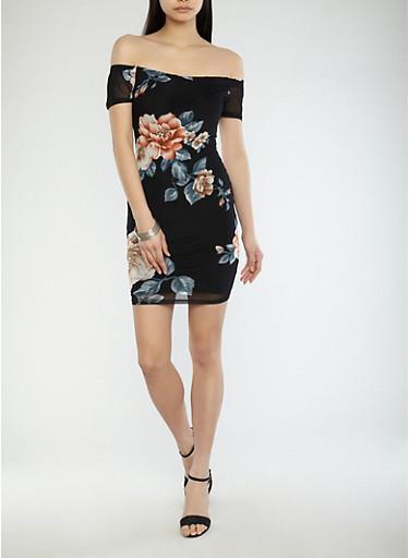 Rose Print Off the Shoulder Mesh Dress,BLACK TAN,large