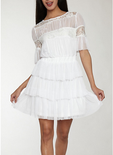 Mesh Tiered Dress with Lace Detail,WHITE,large