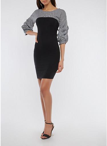 Gingham Ponte Bodycon Dress,BLACK/WHITE,large
