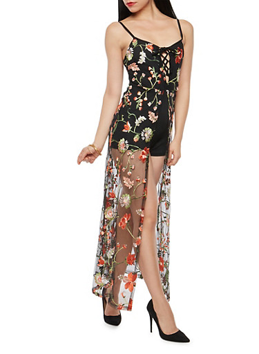 Embroidered Romper with Mesh Maxi Skirt Overlay,BLACK,large
