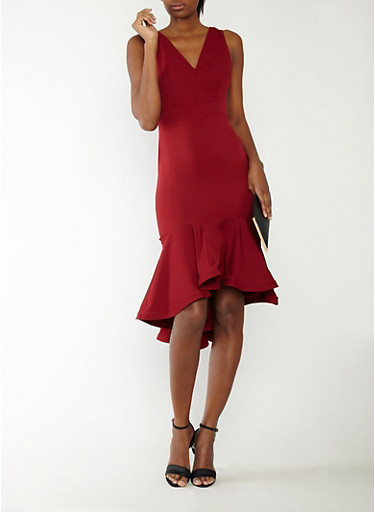 Sleeveless Flounce Hem Dress,BURGUNDY,large