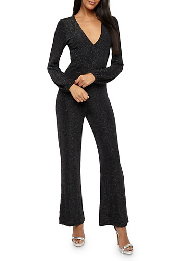 Glitter Knit Wide Leg Jumpsuit,SILVER SPARKLE,large
