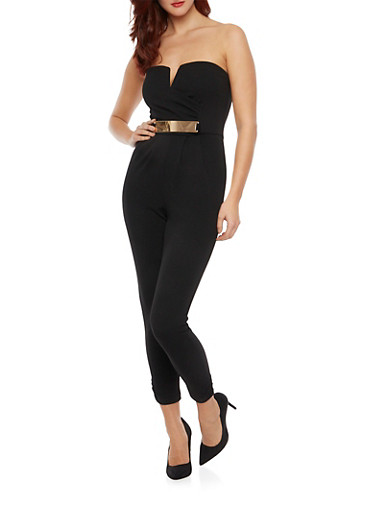 Strapless Jumpsuit with Faux Belt,BLACK,large