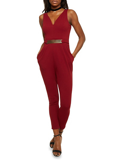 Sleeveless Jumpsuit with Faux Belt,BURGUNDY,large